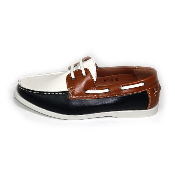Mens Smart Casual Summer Lace Up Boat & Deck Shoes Loafers Faux Nu-buck Leather Loafer Shoes 7273-1 Red/White