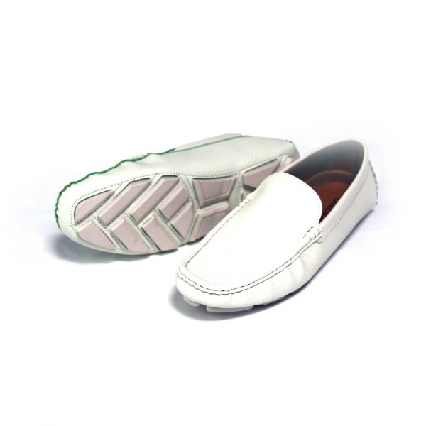 Mens Faux Leather Stylish Moccasin Slippers Penny Loafers 6930f White
