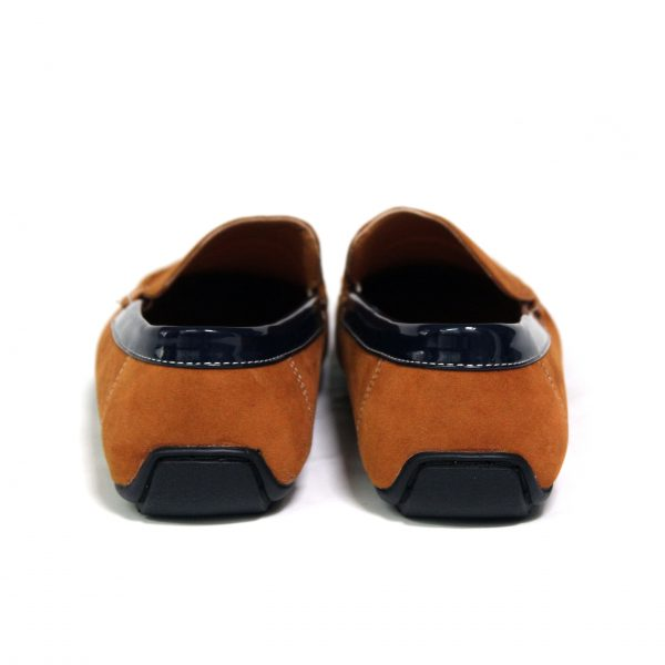 Guciani Men's Classic Original Suede Leather Penny Loafers Comfort Driving Shoes Slip-on Flats Moccasin 609 Orange-88