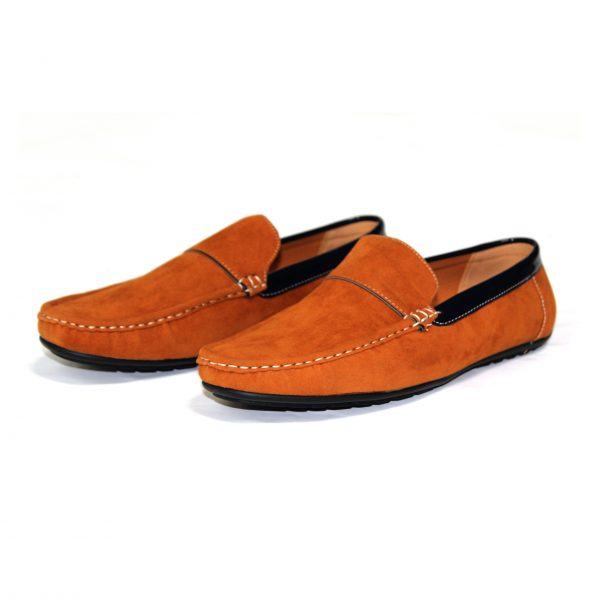 Guciani Men's Classic Original Suede Leather Penny Loafers Comfort Driving Shoes Slip-on Flats Moccasin 609 Orange-90