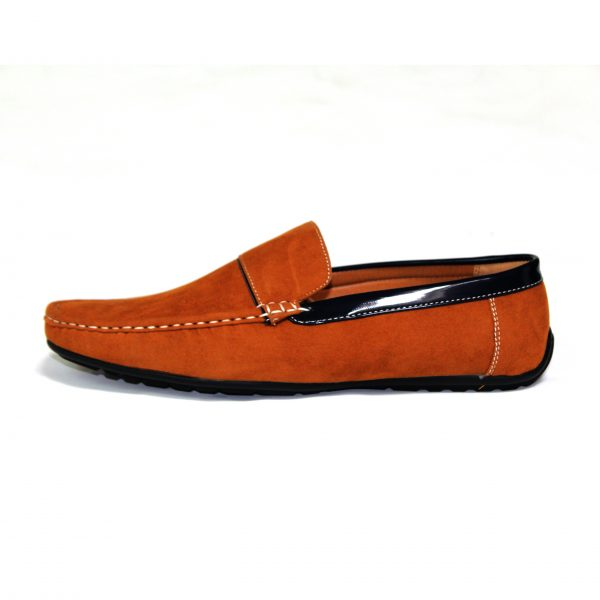 Guciani Men's Classic Original Suede Leather Penny Loafers Comfort Driving Shoes Slip-on Flats Moccasin 609 Orange-91